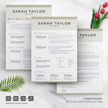 Resume Template with Cover Letter for Senior Assistant