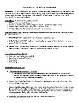 resume unit lesson plan activities and handouts tpt