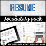 Unit 3 Resume - Vocabulary Pack