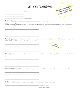 Resume Worksheet Teaching Resources | Teachers Pay Teachers