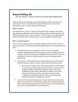 Resume Writing 101 By Escalate