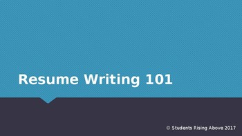 Resume Writing 101 By College And Career Success Tpt