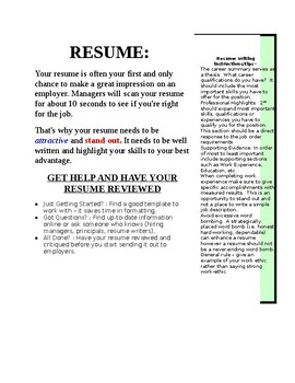 Resume Writing Information with 2 Sample Resumes and a Mini-worksheet