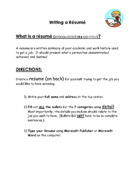 Resume Writing Practice Worksheet By Monica Lukins Tpt