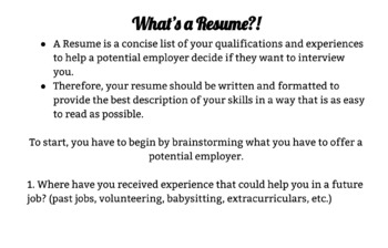 Resume Writing Resources-Including Fillable PDF Template for Student Use