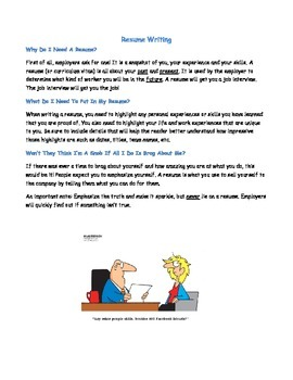 Resume Writing for Students Packet