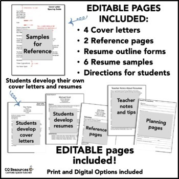 Resume Writing and Cover Letters for Career Readiness - Editable Pages