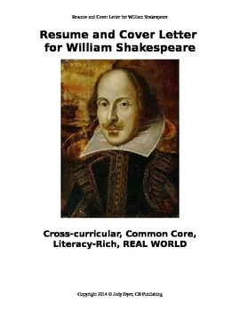 resume and cover letter for william shakespeare by jody dyer tpt