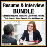 Resume Writing and Job Interview BUNDLE for Career Readiness EDITABLE