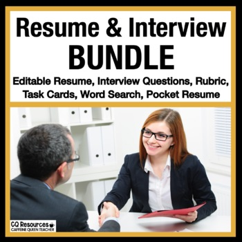 Resume Writing - Cover Letter - Interview Task Cards - Tha