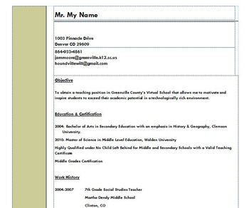 Resume for Educators