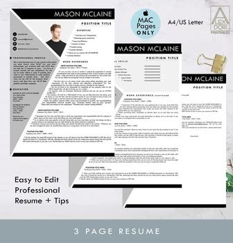 Resume in Gray-Black ALL-IN-ONE Template with Photo for Mac Pages