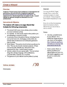 Resume instructions and rubric.