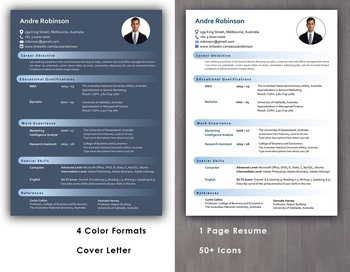 Resume Template 1 Page With Cover Letter In Editable Word