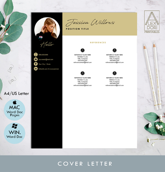 Resume template with picture, Modern Resume, cv, job cvs, job templates, pages