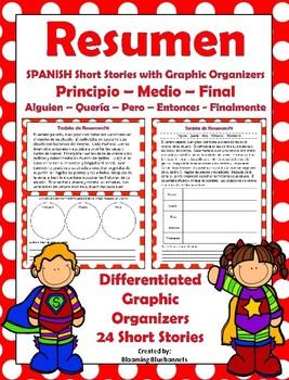 resumen resumir summary spanish stories with graphic organizers