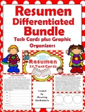 Resumen - Resumir - Summary - SPANISH Graphic Organizers Task Cards BUNDLE