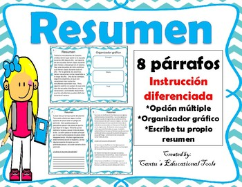 Resumen Summary Task Cards Spanish By Cantu S