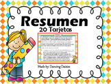 Resumen - Resumir - Summary Task Cards - Spanish