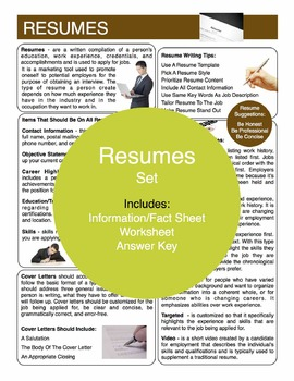 Resumes Content Sheet, Worksheet And Answer Key