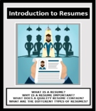 RESUMES, Introduction to Resumes, Employment, Careers Readiness, Vocational