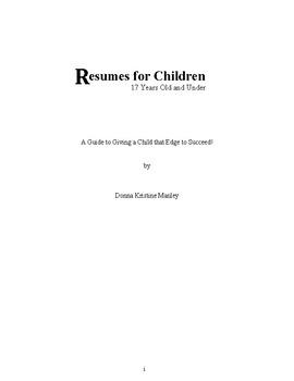Resumes for Children - 17 Years Old and Under (ebook)