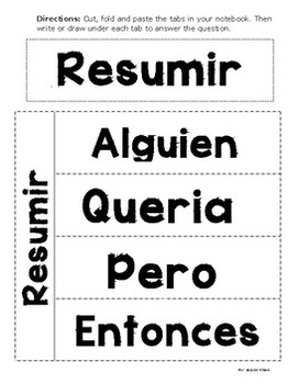 Resumir - Summary Foldable in Spanish