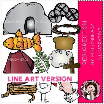 Resurrection clip art - part 1 - Bible - LINE ART- by Melonheadz