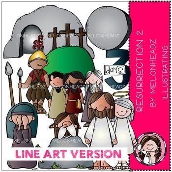 Resurrection clip art - part 2 - Bible - LINE ART- by Melonheadz