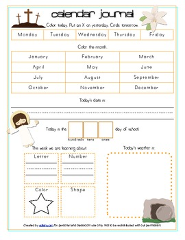 Resurrection/Easter Calendar/Circle Time Journal Sheet