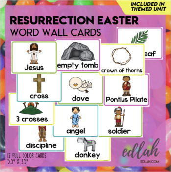 Resurrection/Easter Vocabulary Word Wall Cards (set of 7)