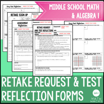 Retake Request & Test Reflection/ Corrections Forms for Beginning of the Year