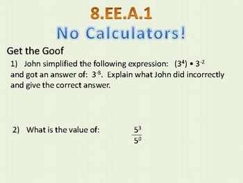 Reteach/Bellwork 8.EE.A.1 - Integer Exponents