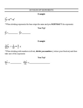 Reteach or Guided Practice Worksheet for Laws of Exponents
