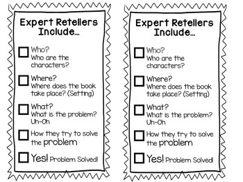 Fiction and Nonfiction Retell Bookmark