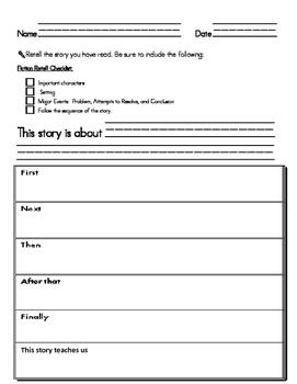 Retell Fiction Stories Worksheet