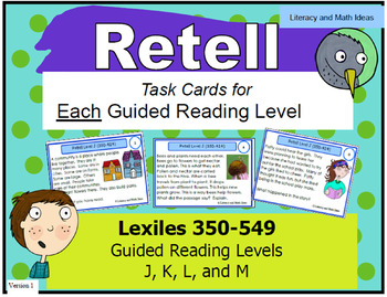 Retell Task Cards For Each Guided Reading Level (Levels J,K,L,and M)