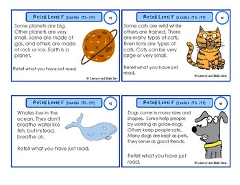 Retell Task Cards Guided Reading Level F (Lexiles 175-199)