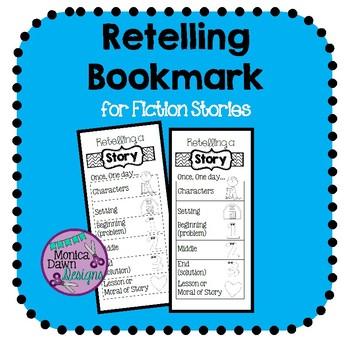 Retell a Story Bookmark Black & White