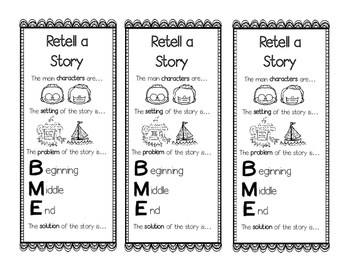 Retell a Story Bookmarks