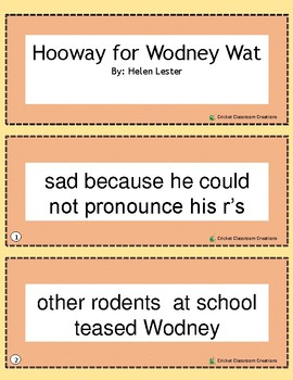 Retell and Sequencing Cards: Hooway For Wodney Wat - First or Second Grade