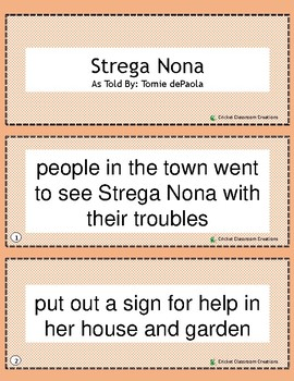 Retell and Sequencing Cards: Strega Nona- Grades 1 or 2
