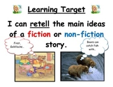 Retell learning target for fiction and non-fiction for fir