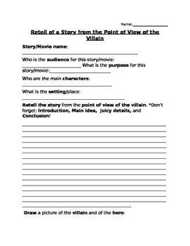 Retell of  Story by the Perspective of the Villain - Media Literacy, Writing