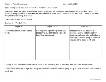 Ready Freddy: Retelling Strategy Sheets