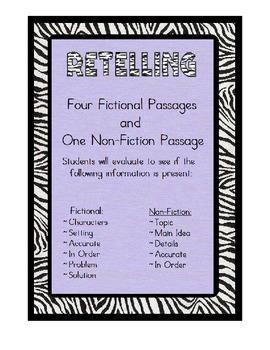 Retelling -4 Fictional Passages & 1 Nonfiction Text: Retel