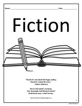 Fiction Book Study And Book Report