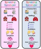 Common Core Aligned Retelling Bookmark, Posters, and Edita