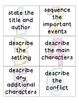 Retelling Cards & Check Lists Reading Comprehension Activities