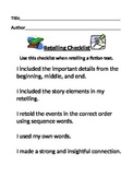 Retelling Checklist (Editable)